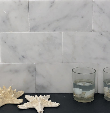 Carrara White Marble 3x6 Subway Tile Polished/Honed
