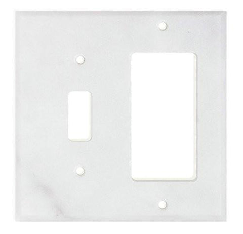 ITALIAN CARRARA WHITE MARBLE TOGGLE ROCKER SWITCH WALL PLATE / SWITCH PLATE / COVER - HONED OR POLISHED