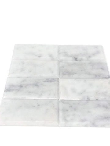 Carrara White 3x6 Beveled Subway Tile Polished/Honed Stone Tilezz