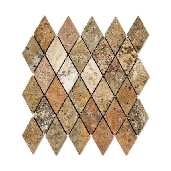 Scabos Travertine 2x4 Tumbled Diamond Mosaic Tile Stone Tilezz