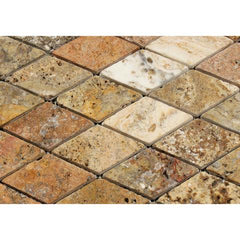 Scabos Travertine 2x4 Tumbled Diamond Mosaic Tile