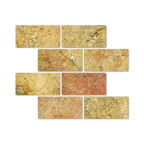 3X6 Scabos Travertine Tumbled Subway Tile