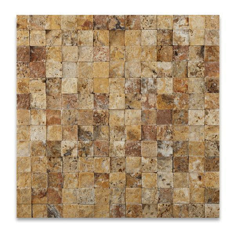 1X1 Scabos Travertine Split Faced Mosaic Tile