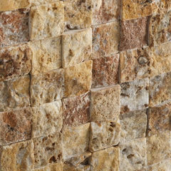 Scabos Travertine 1x1 Split Faced Mosaic Tile