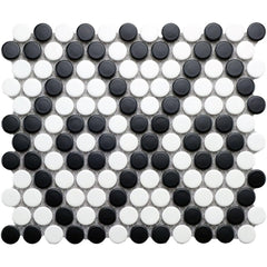 Simple City Black and White Penny Round Ceramic Mosaic Tile Tilezz