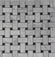 Carrara White Basketweave with Black Marble Polished/Honed