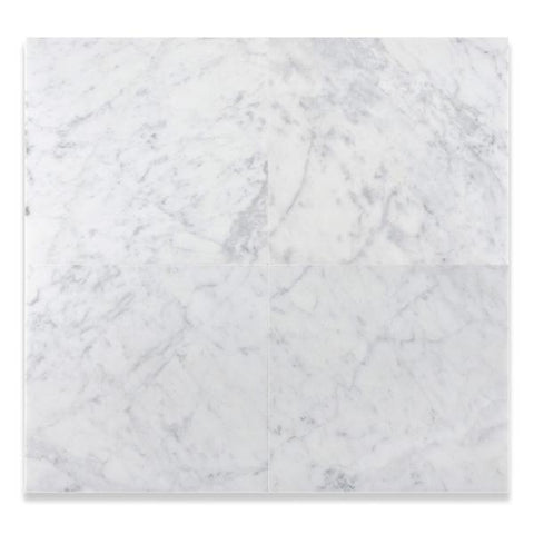 12 X 12 CARRARA WHITE MARBLE HONED OR POLISHED FIELD TILE