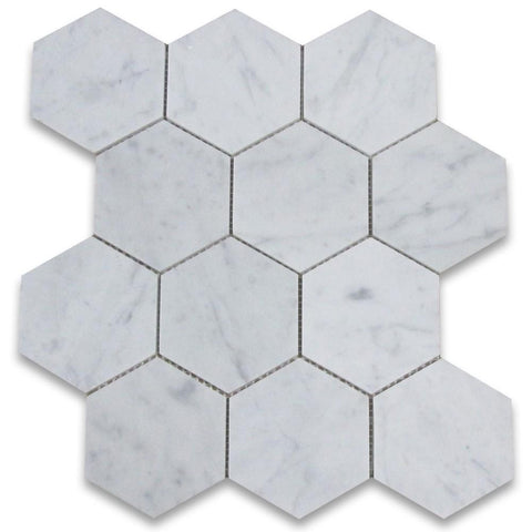 "Carrara White Hexagon 5"" Polished/Honed Stone Tilezz"