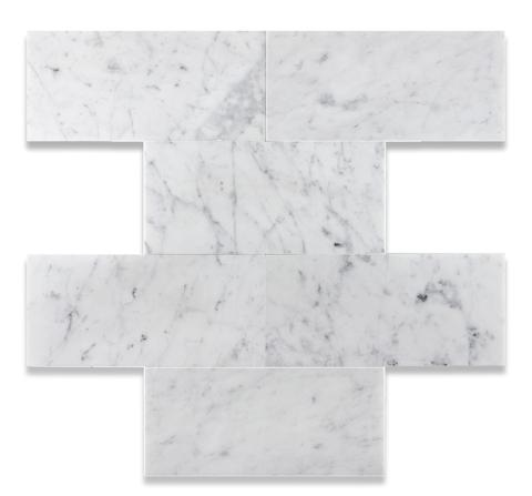 6 X 12 CARRARA WHITE MARBLE POLISHED OR HONED SUBWAY BRICK FIELD TILE