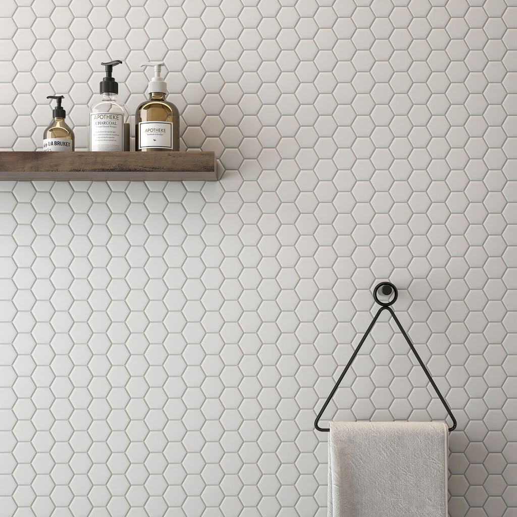 "Simple City White 2"" Hexagon Matte Ceramic Tile Tilezz"