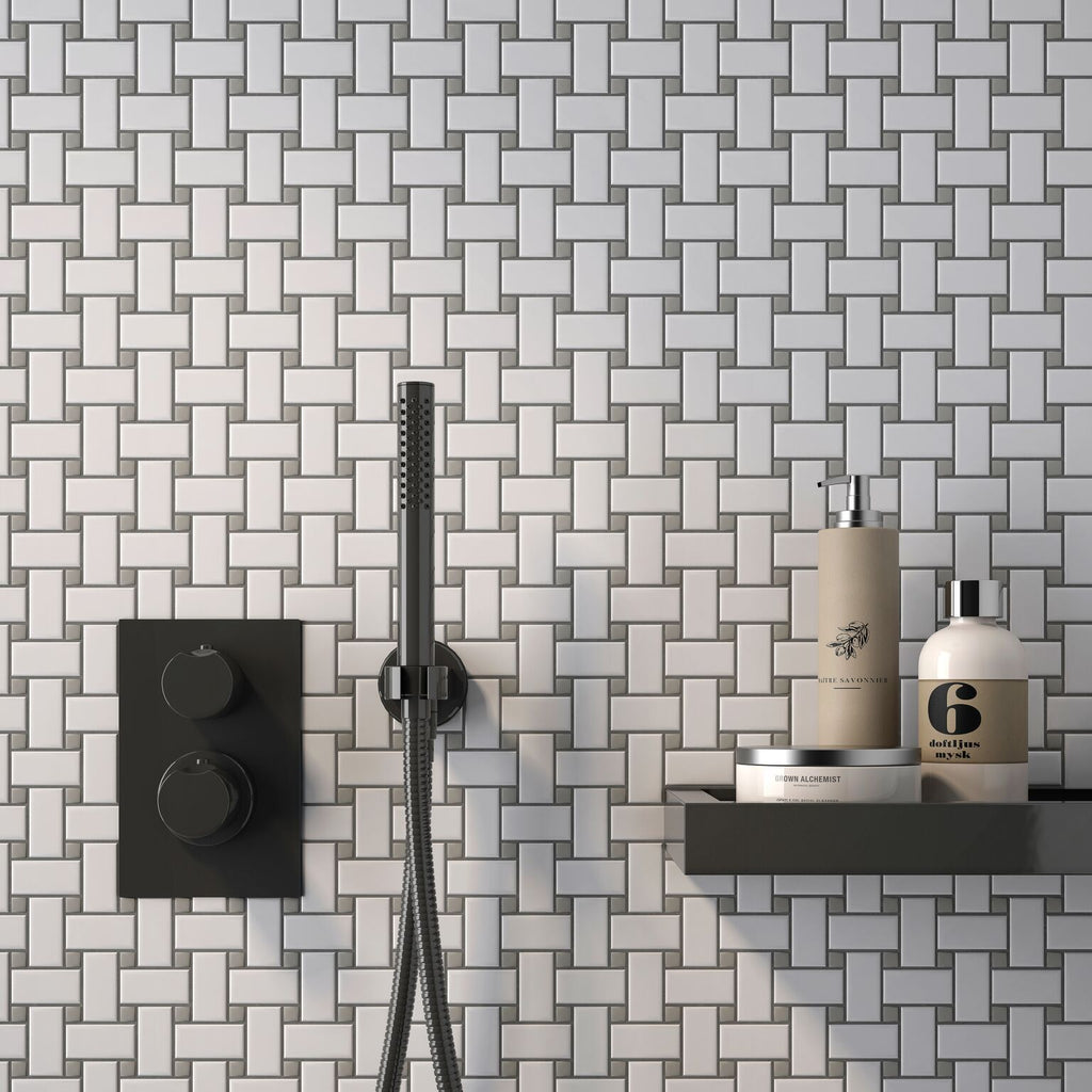 Simple City White and Gray Basketweave Ceramic Mosaic Tile Tilezz