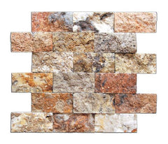 2X4 Scabos Travertine Split Faced Mosaic Tile