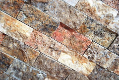 Scabos Travertine 2x4 Split Faced Mosaic Tile