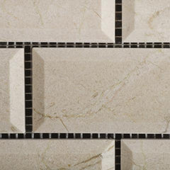 Crema Marfil 2x4 Beveled Polished Brick Mosaic Tile