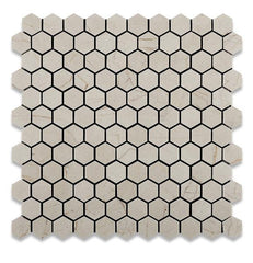"Crema Marfil 1"" Hexagon Polished Mosaic Tile Stone Tilezz"