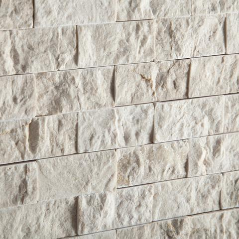 1X2 Crema Marfil Split Faced Brick Mosaic Tile