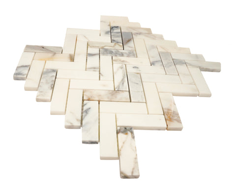 Calacatta Gold Herringbone 1X3 Mosaic Polished/Honed Stone Tilezz