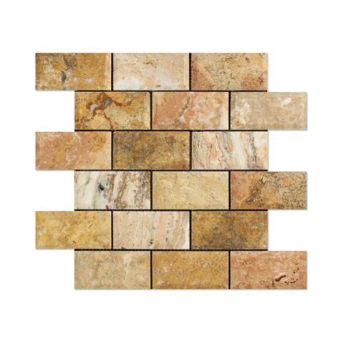 Scabos Travertine 2x4 Beveled Mosaic Honed Stone Tilezz