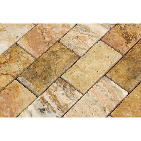 2x4 Scabos Travertine Beveled and Honed Brick Mosaic Tile