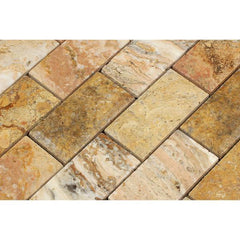 Scabos Travertine 2x4 Beveled Mosaic Honed