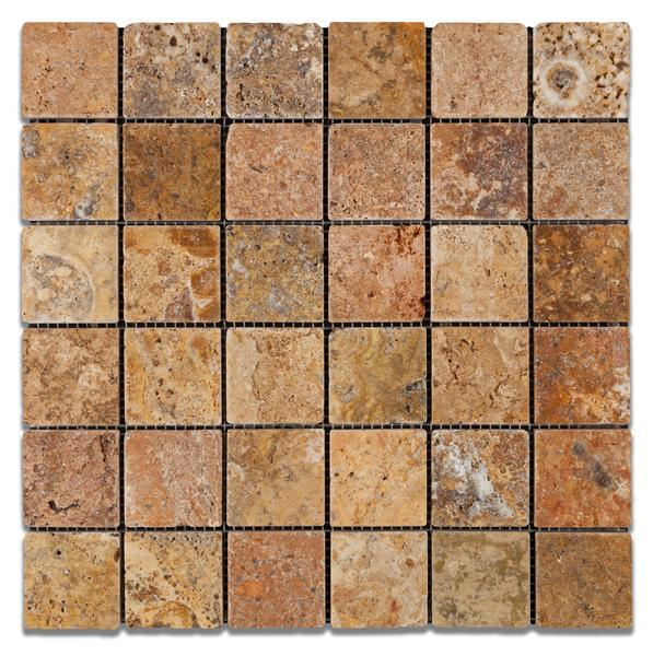 Scabos Travertine 2x2 Tumbled Mosaic Tile Stone Tilezz