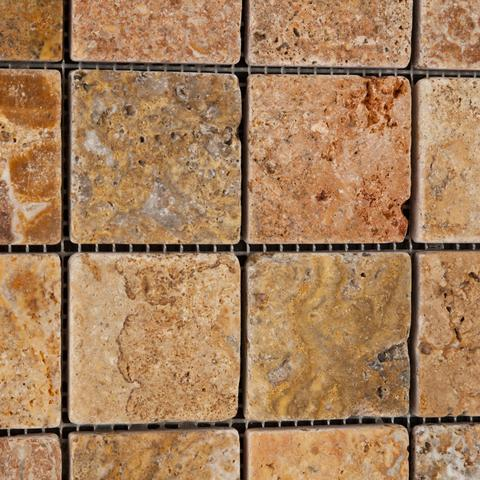 2x2 Scabos Travertine Tumbled Mosaic Tile