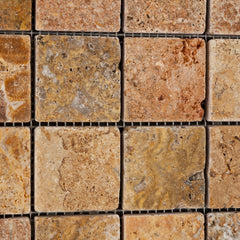 Scabos Travertine 2x2 Tumbled Mosaic Tile