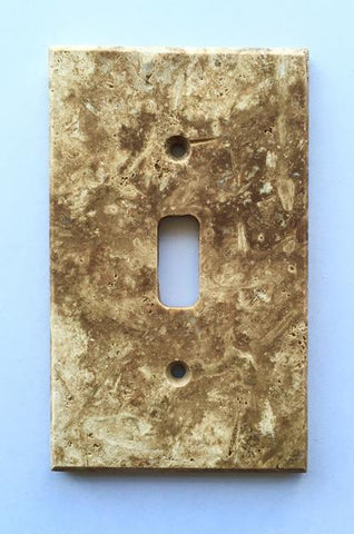 Dark Walnut Travertine Single Toggle Switch Wall Plate/Outlet Cover Tilezz