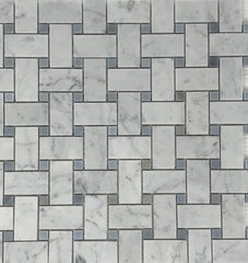 Carrara White Basketweave with Blue Marble Polished/Honed Stone Tilezz