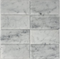 Carrara White 3x6 Beveled Subway Tile Polished/Honed