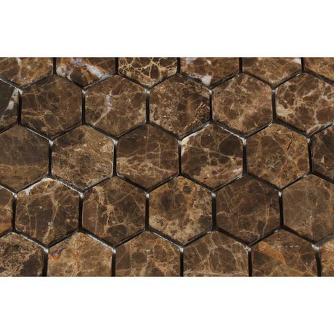 "Emperador Dark Tumbled 2"" Hexagon Mosaic Tile Stone Tilezz"