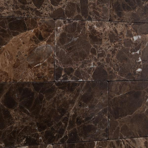 Emperador Dark 3x6 Tumbled Subway Tile Stone Tilezz
