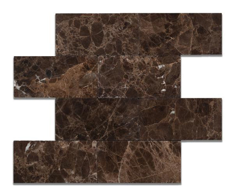 3x6 Emperador Dark Tumbled Subway Tile