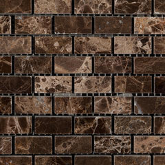 Emperador Dark Polished Baby Brick Mosaic Tile