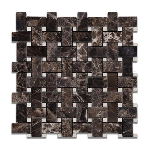 Emperador Dark Polished Basketweave w/ Crema Marfil Dots Mosaic Tile
