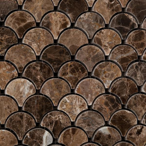 Emperador Dark Polished Scallop Mosaic Tile Stone Tilezz