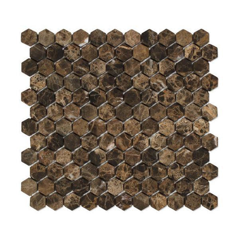 "Emperador Dark 1"" Hexagon Tumbled Mosaic Tile Stone Tilezz"