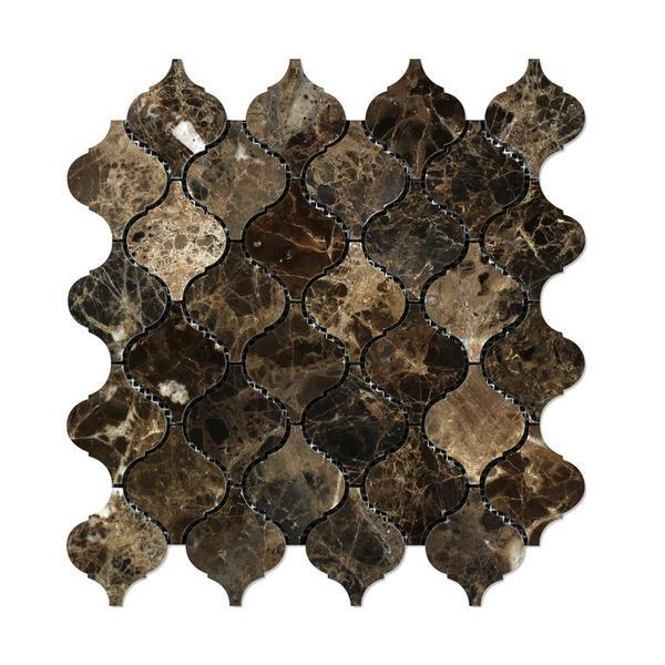 Emperador Dark Polished Lantern Arabesque Mosaic Tile Stone Tilezz