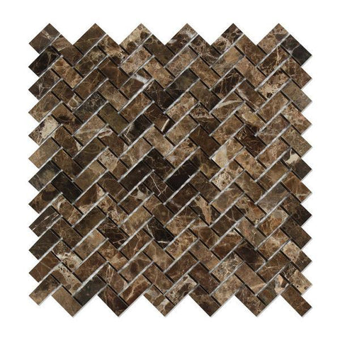 Emperador Dark Polished Mini Herringbone Mosaic Tile