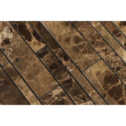 Emperador Dark Polished Random Strip Mosaic Tile Stone Tilezz