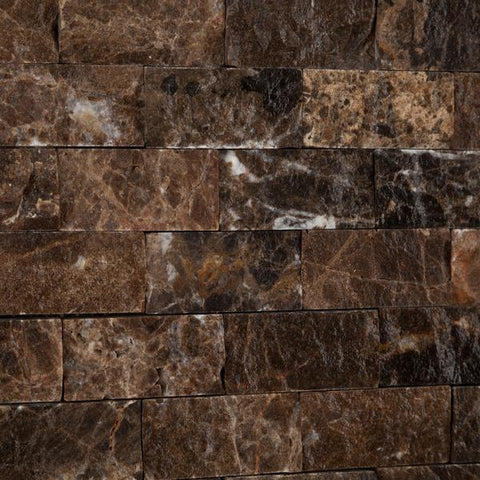 Emperador Dark 1x2 Split Faced Mosaic Tile Stone Tilezz