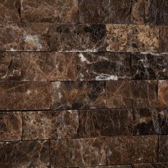 Emperador Dark 1x2 Split Faced Mosaic Tile