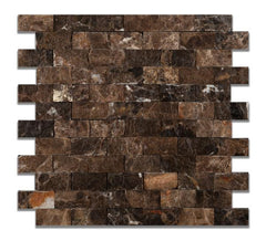 1X2 Emperador Dark Split Faced Mosaic Tile