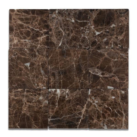 Emperador Dark 4x4 Tumbled Field Tile Tilezz