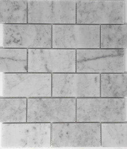 Carrara White Marble 2x4 Mosaic Polished/Honed Stone Tilezz