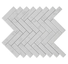 Carrara White Marble 1X4 Herringbone Mosaic Polished/Honed