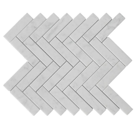 Carrara White Herringbone 1X4 Mosaic Polished/Honed