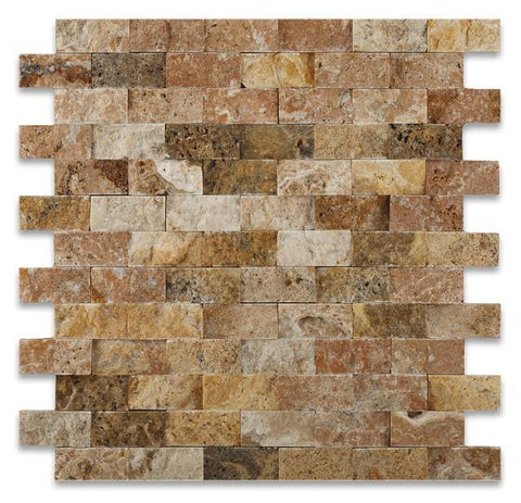 "Tuscany Scabos 1""x2"" Travertine Split Faced Mosaic Tile Stone Tilezz"