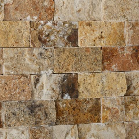 1x2 Scabos Travertine Split Faced Mosaic Tile