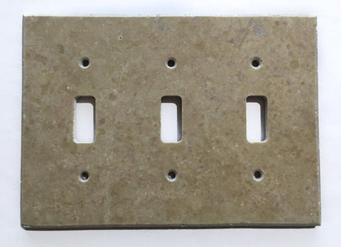 Light Walnut Travertine Triple Toggle Switch Wall Plate